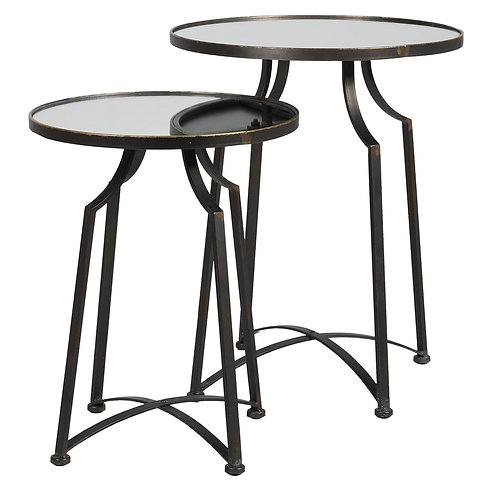 Set of 2 Mirrored Side Tables