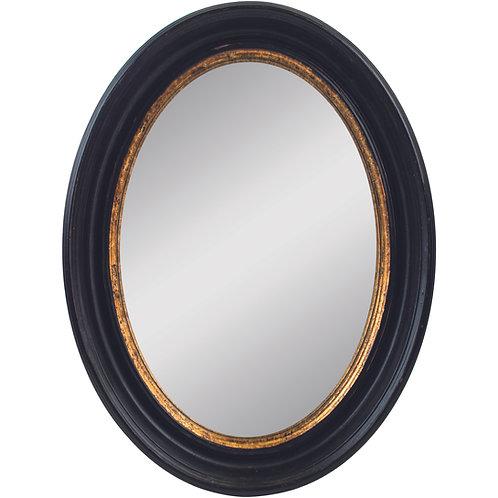 Oval Convex Mirror Antique Black Medium
