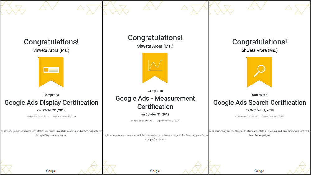 Digital Marketing Certificates Google Shweta Arora