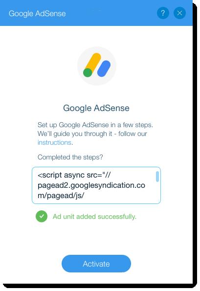 Adding Adsense to Wix