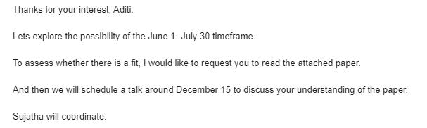 IIMA Internship Email