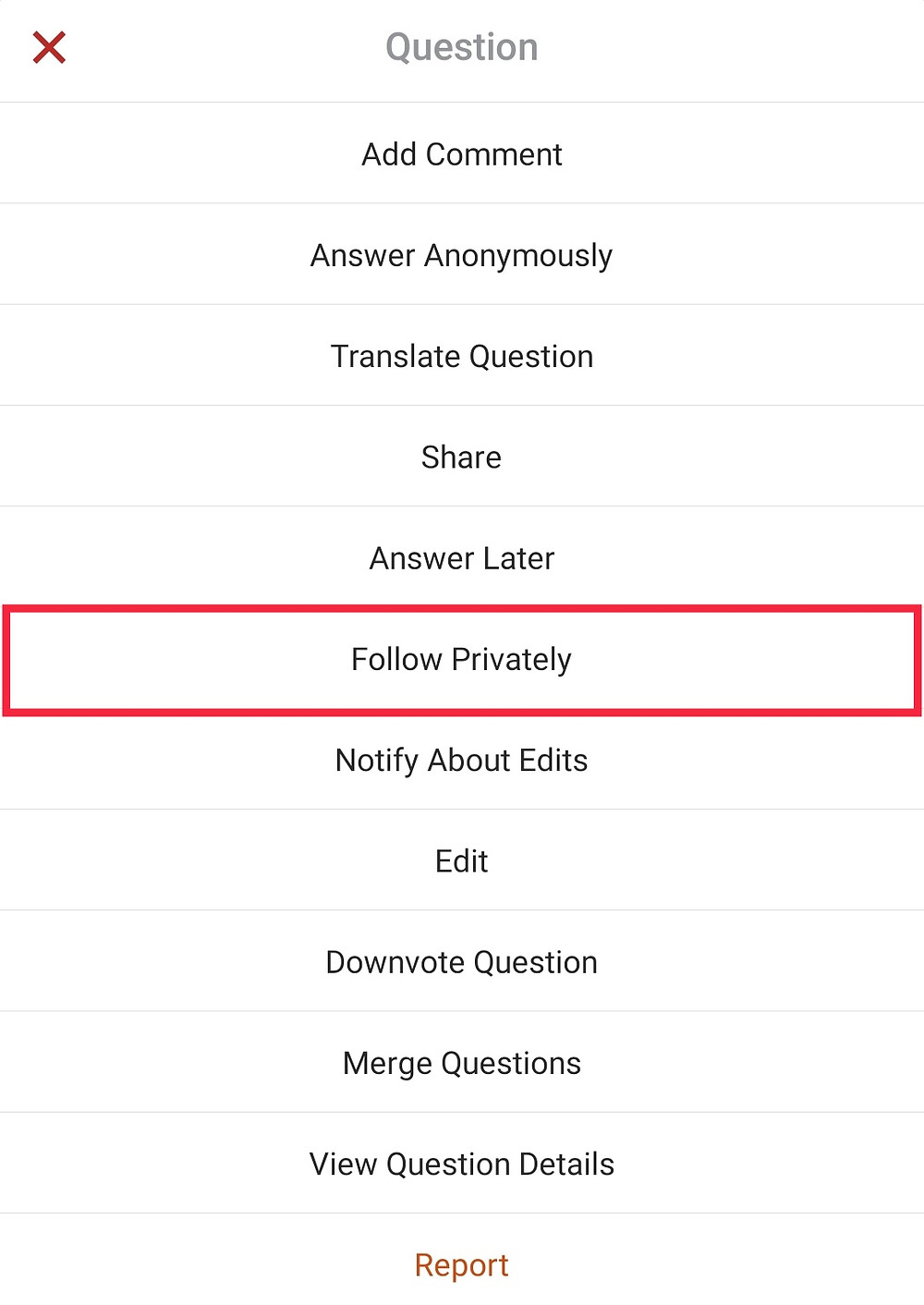 Quora Follow Privately