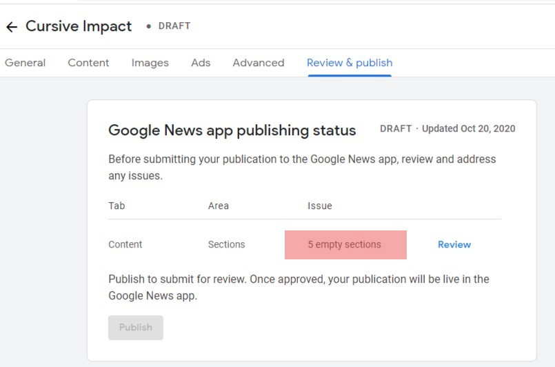Google News Empty Sections