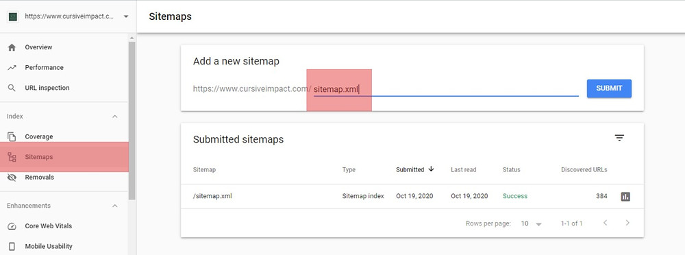 Submit Sitemap Indexing