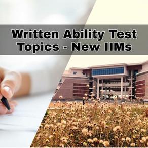 WAT Topics - New IIMs (CAP)