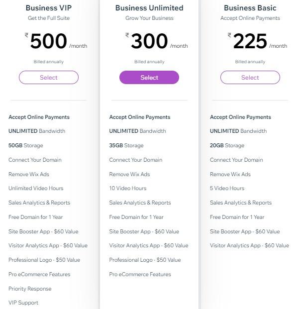 Business Premium Plans Wix India