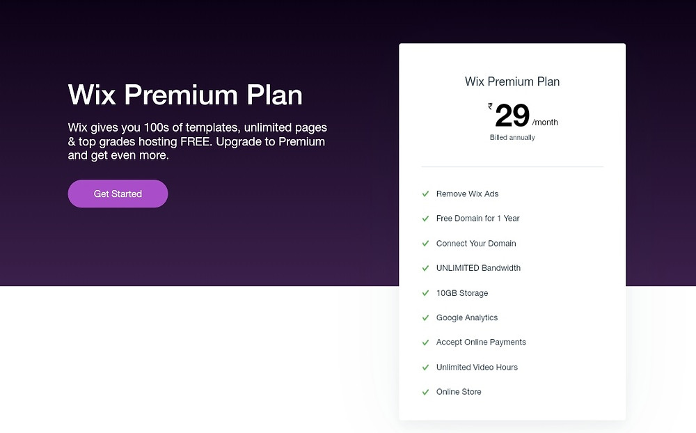 Wix Rs 29 per month Plan India