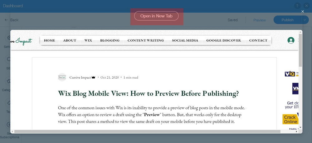 Wix Blog Mobile View