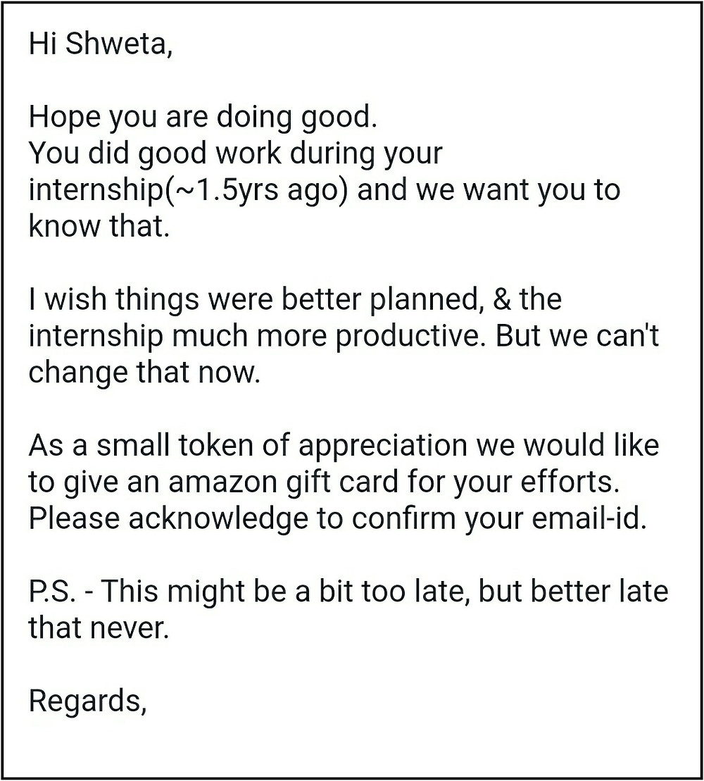Email from Founder Internship