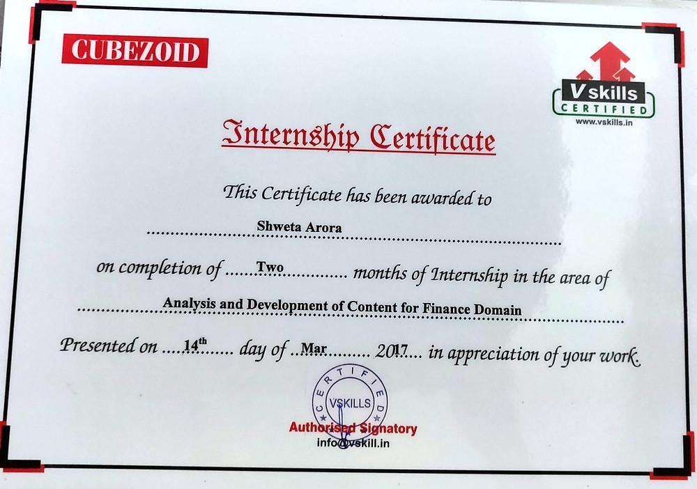 Vskills Internship Certificate Shweta Arora