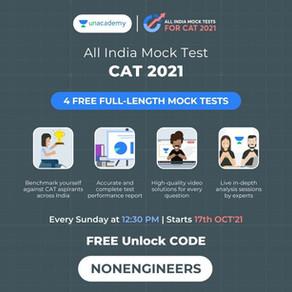 India's Biggest CAT 2021 Mock Series is Here! Unlock using the Code NONENGINEERS
