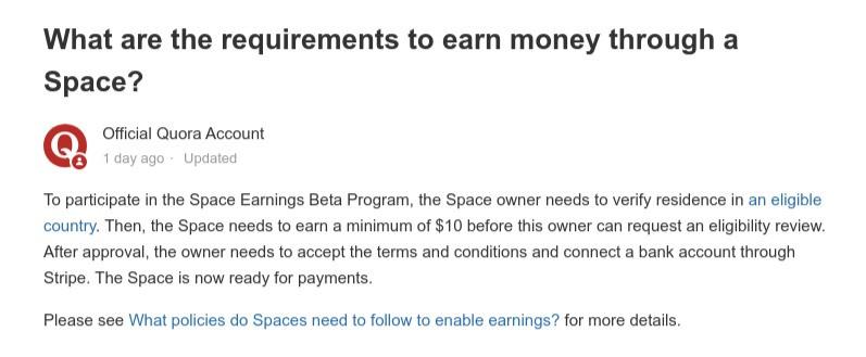 Quora Space Earning Program