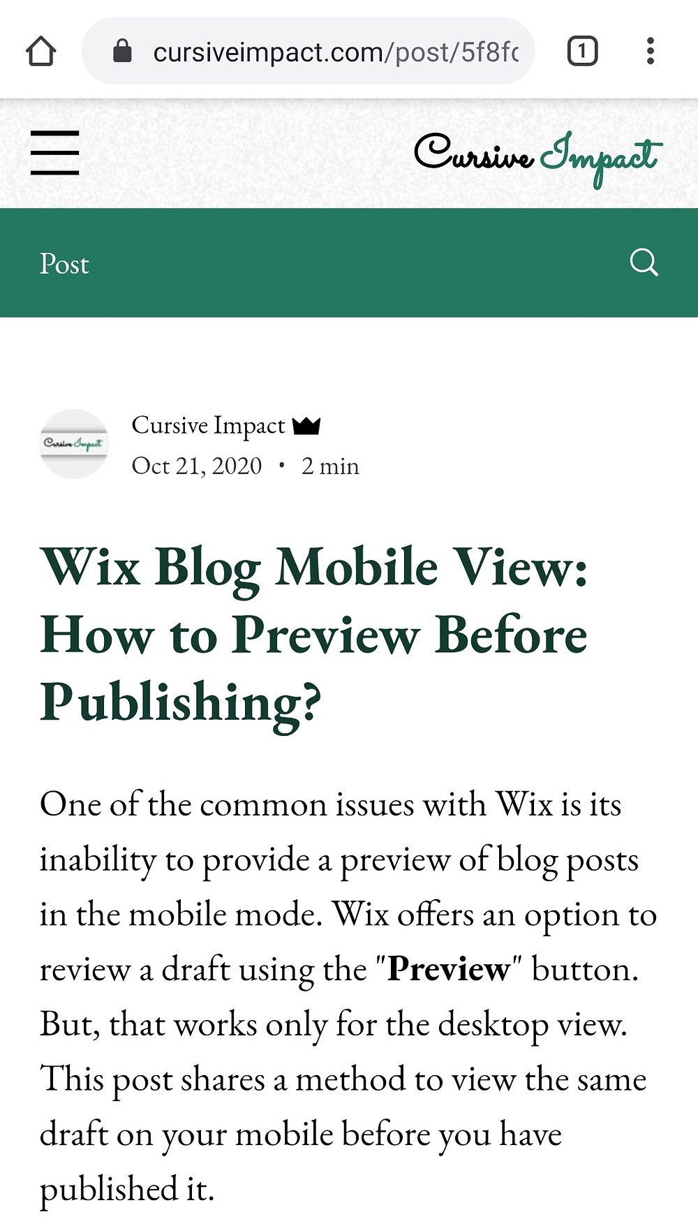 Wix Mobile View