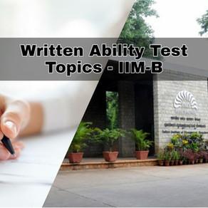 WAT Topics - IIM Bangalore