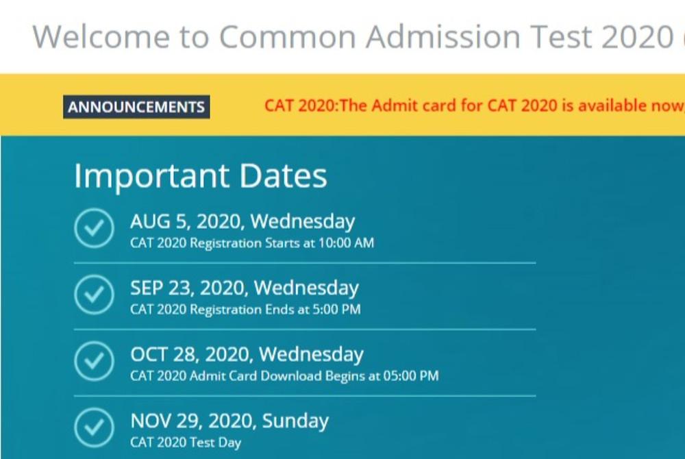 CAT 2020 Admit Card