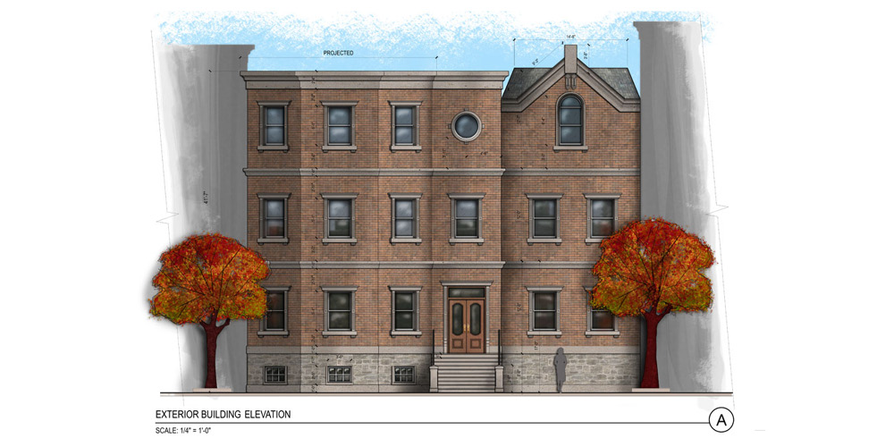 Ext. Brownstone, color & texture.