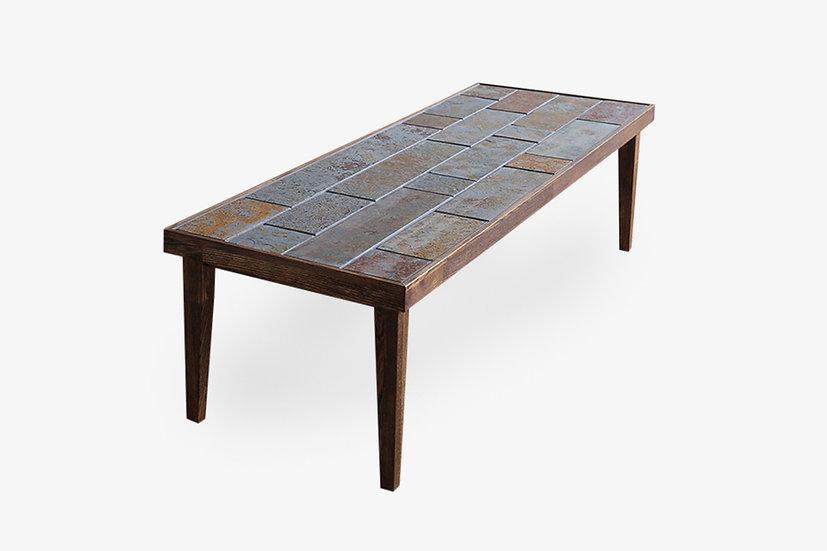 錆石とタモのローテーブル【パティーナロング001】一点物
