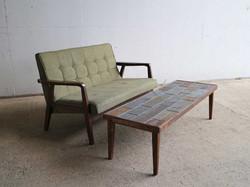 錆石とタモのローテーブル