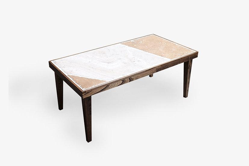 石とタモ材のパッチワークローテーブル
