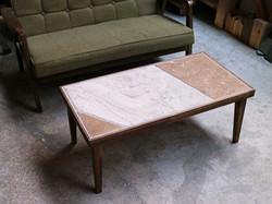 石とタモ材のパッチワークテーブル