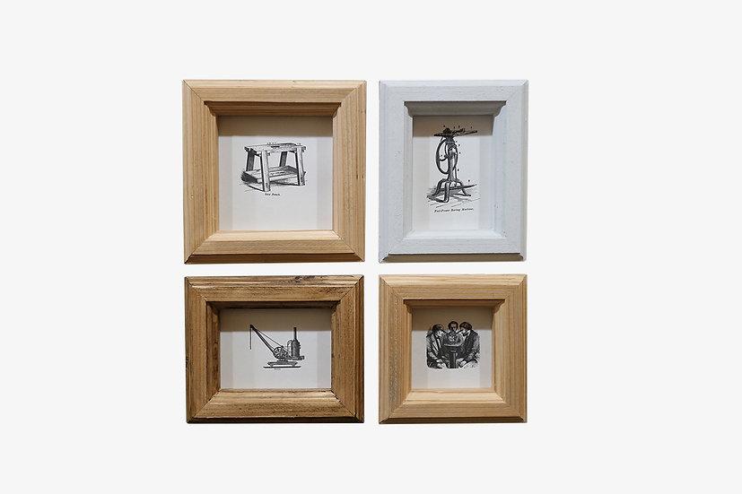 写真L版・2L版4個セット|玄関ドア~石膏ボードの壁|国産杉のくっつく額縁