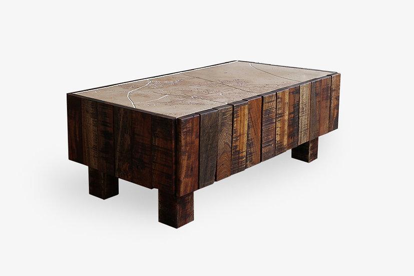 古材と継石のローテーブル【ストレイン001】一点物