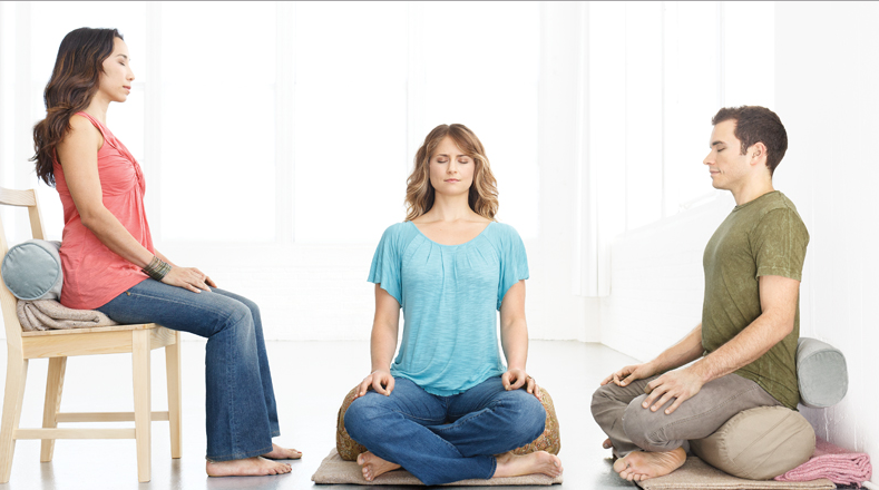 Different Meditation Postures: Sitting in chair. - (left) Sitting on floor. - (centre and right)