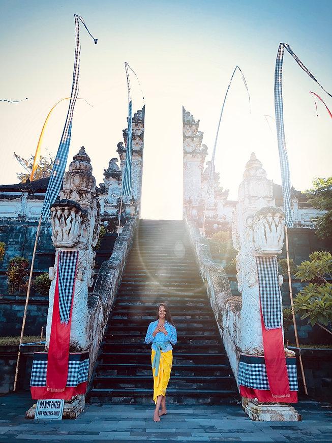 Woman at temple Lempuyang Bali