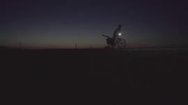 Marlene on dark highway in Manitoba