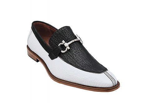 Belvedere Alfio Shark Bit Loafers  Black & White