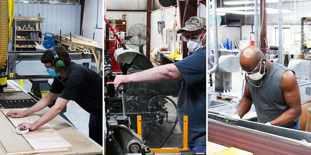 Hnakscraft AJS employees working hard on tap handles