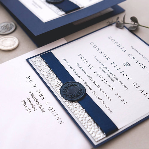 navy silver handmade wax seal evening invitation glasgow