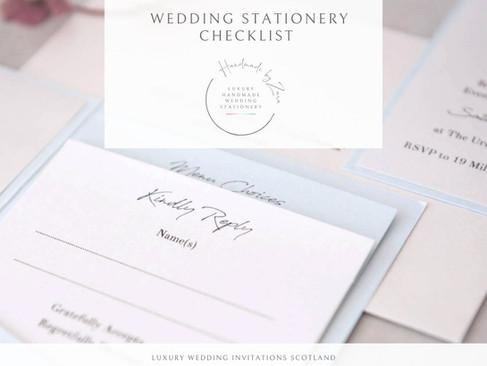Luxury Wedding Invitations Scotland- Wedding Stationery Checklist