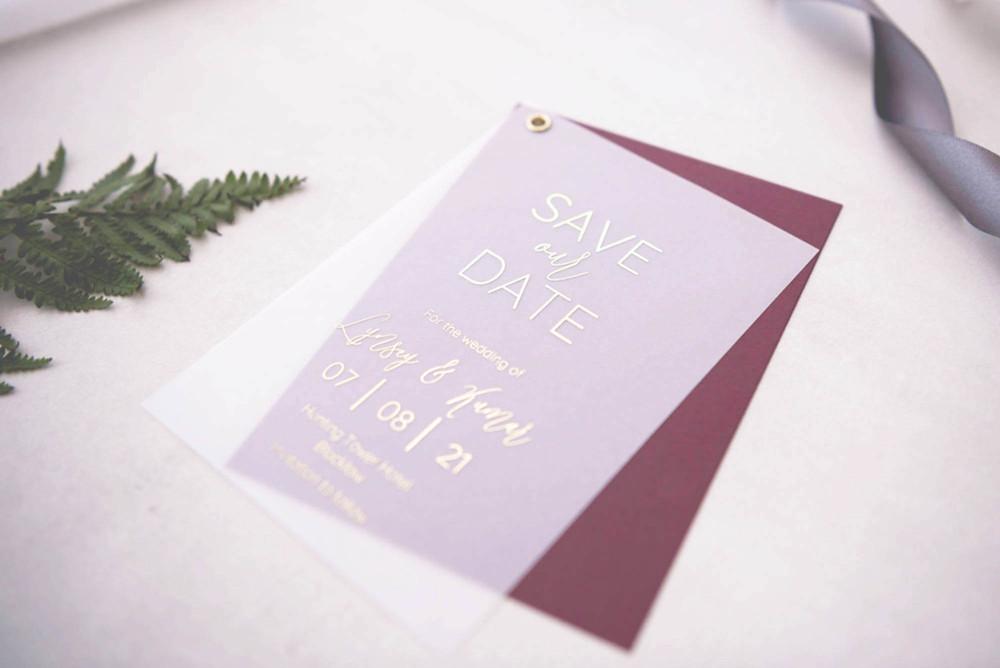 burgundy vellum swing postcard save the date card digital gold foil handmade wedding stationery