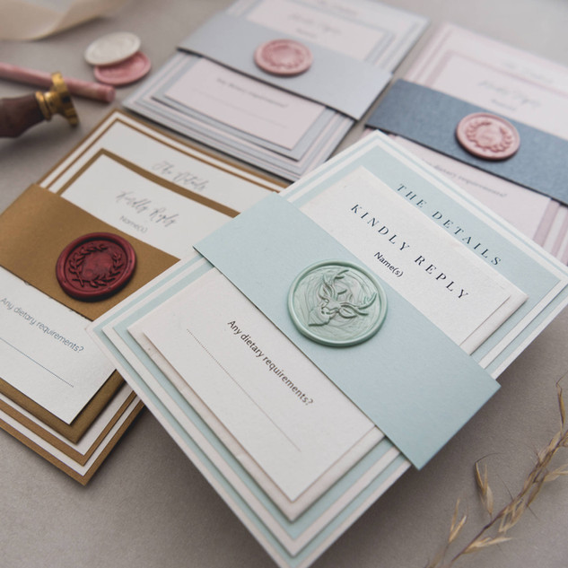 personalised colourful layered wax seal wedding invites
