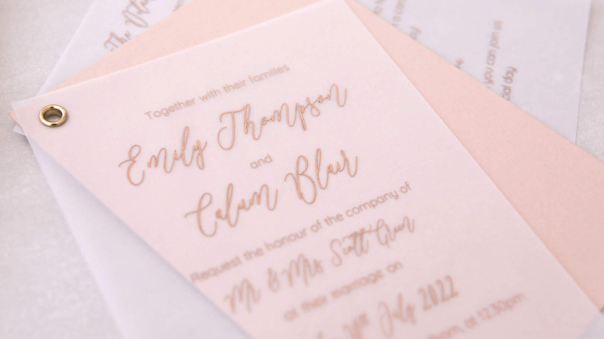 sarah swing vellum eylet luxury wedding invite gold digital foil edinburgh