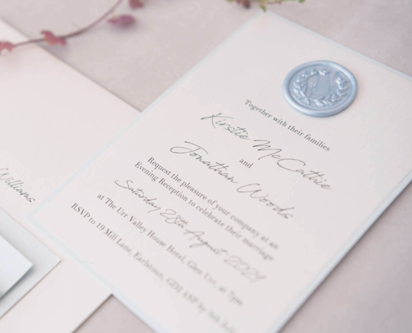 luxury personalised evening postcard invite handmade wax seal dumfries