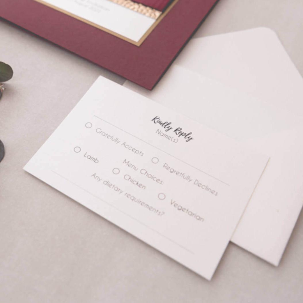 RSVP card wedding invitation A7 matching envelope personalised luxury stationery scotland
