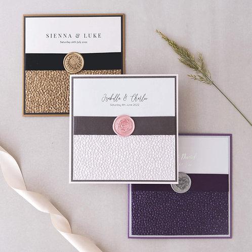 cadburys purple pink gold handmade wax seal wedding invitation sample