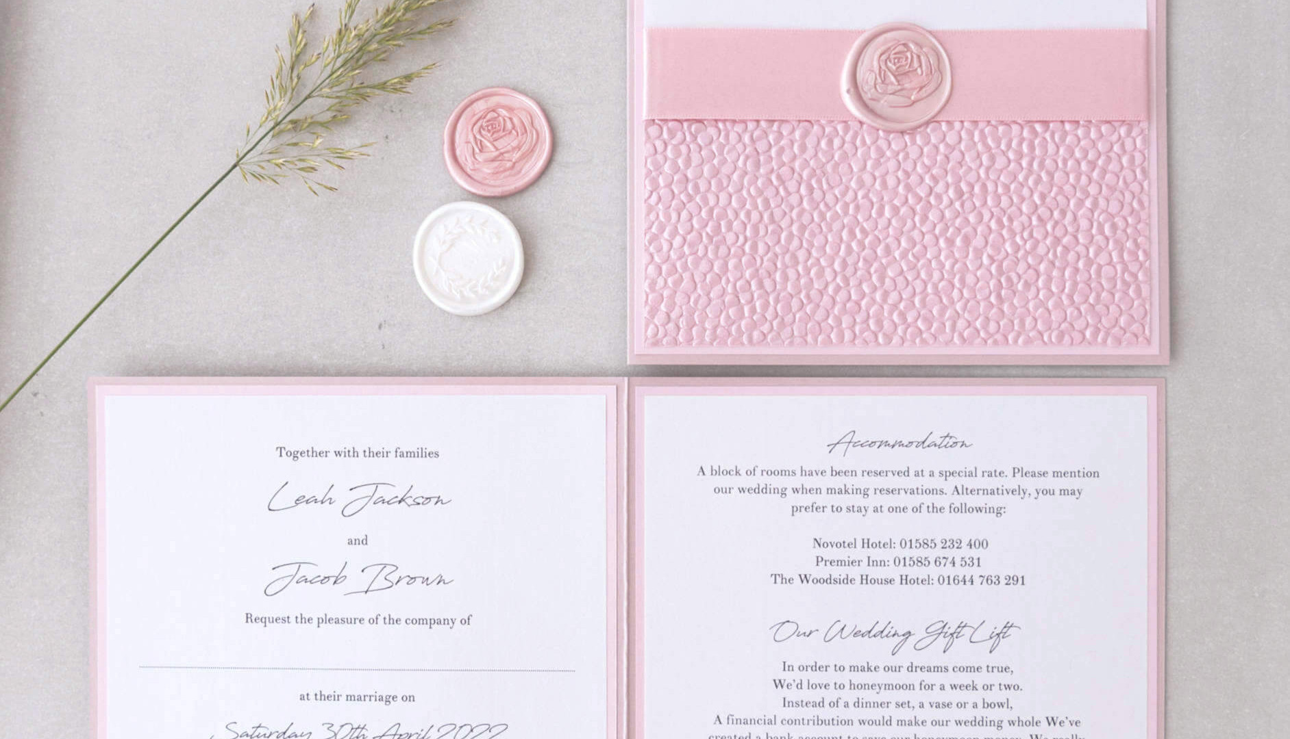 Lily handmade wax seal wedding stationery pebble paper aberdeen