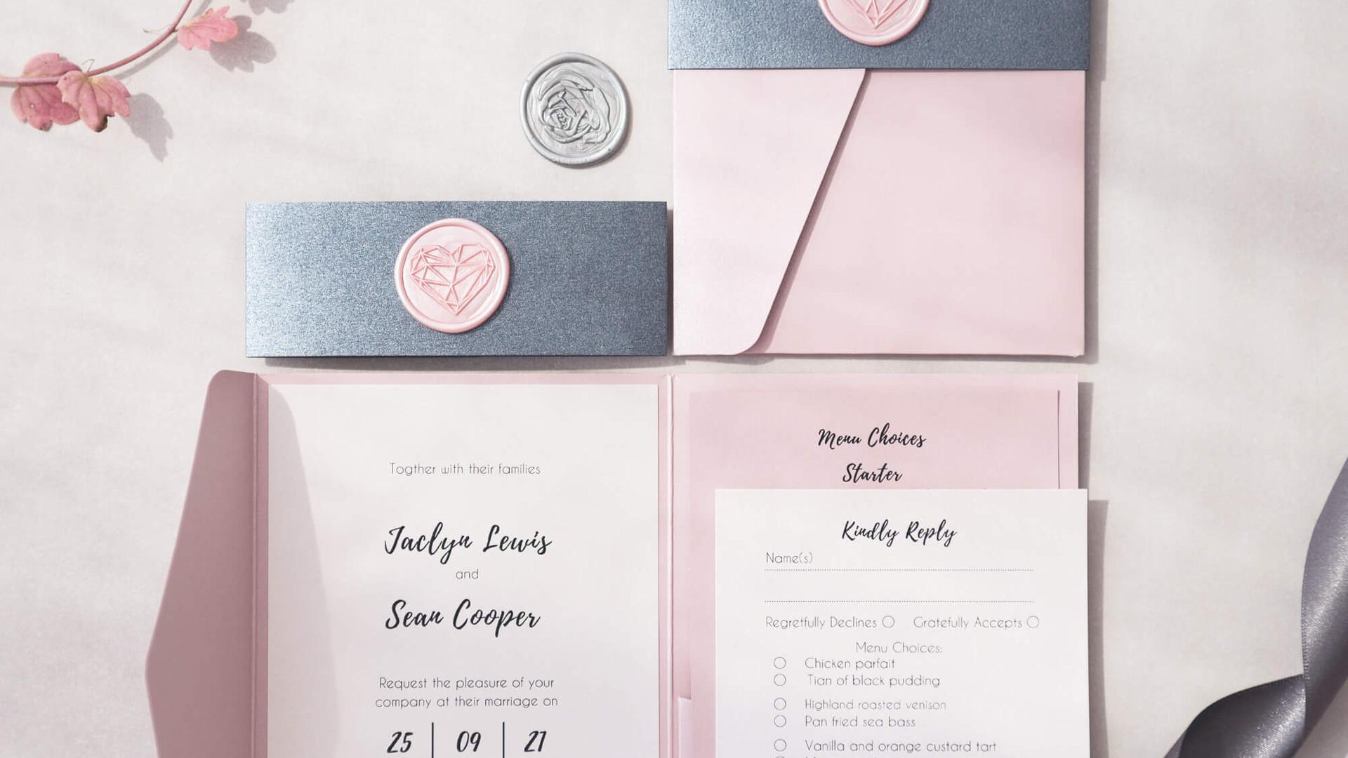 Zoe pocketfold pearlescent luxury personalised bellyband wax seal wedding invitation