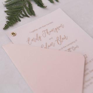blush vellum gold foil wedding invite fife