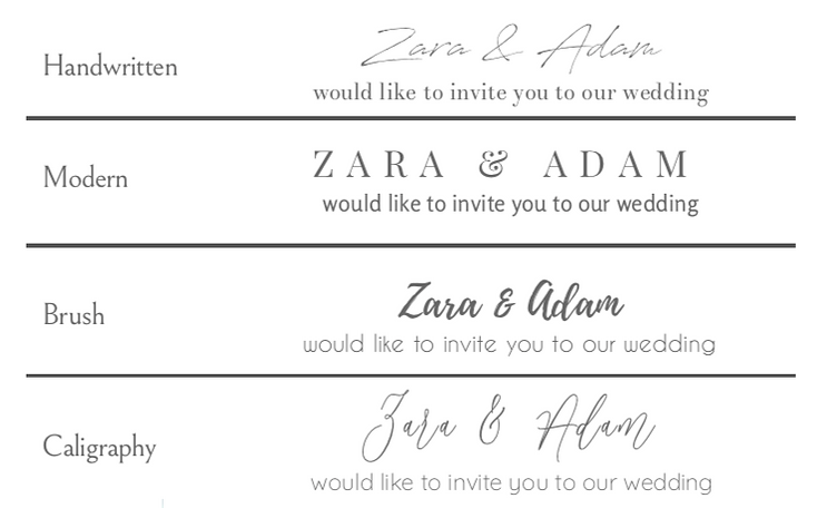 Wedding stationery fonts