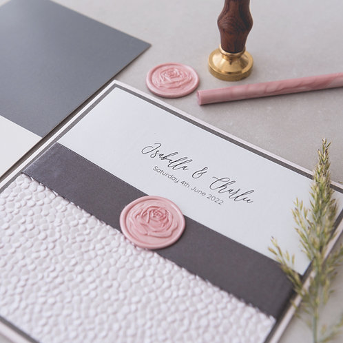 blush pink grey handmade wax seal pebble paper wedding invitation