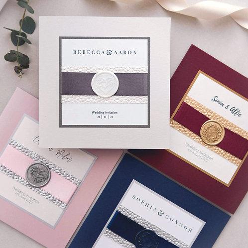 navy burgundy silver pink handmade wedding stationery sample