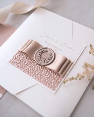 elegant champagne wedding invite