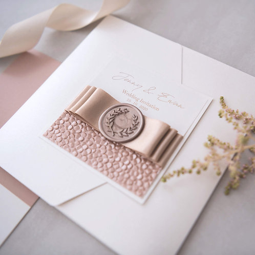 cream elegant handmade wedding invitation