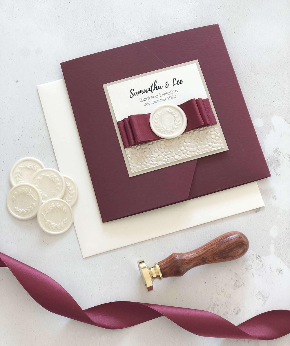 luxury handmade pocketfold wedding invitation burgundy cream