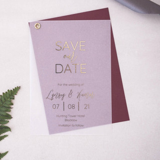 burgundy and gold foil vellum save the date card