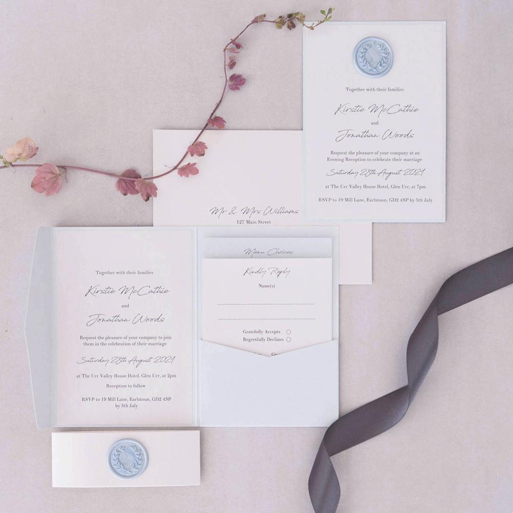 baby blue pocketfold wedding invitation handmade wax seal evening invite